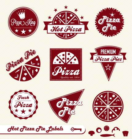 caja de pizza: Vector Set: Etiquetas y etiquetas engomadas Pizza Place Vectores