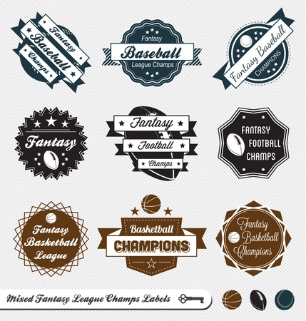 Set  Mixed Fantasy League Champion Labels Vector