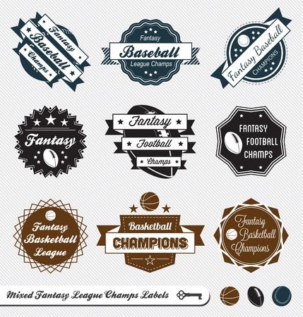 Set  Mixed Fantasy League Champion Labels Vector