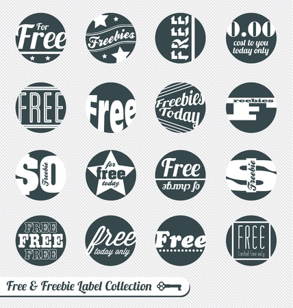Set: Free and Freebie Sale Labels Vector