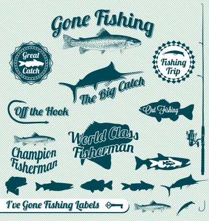 canna pesca: Etichette andare a pesca e Adesivi Vettoriali