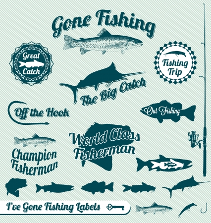 Going Fishing Labels and Stickers Vector