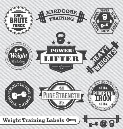 levantando pesas: Etiquetas del levantamiento de pesas y Logos