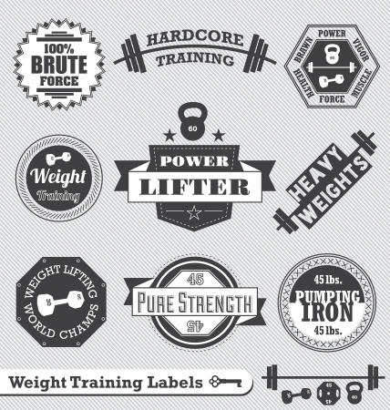 strong symbol:  Weight Lifting Labels and Logos