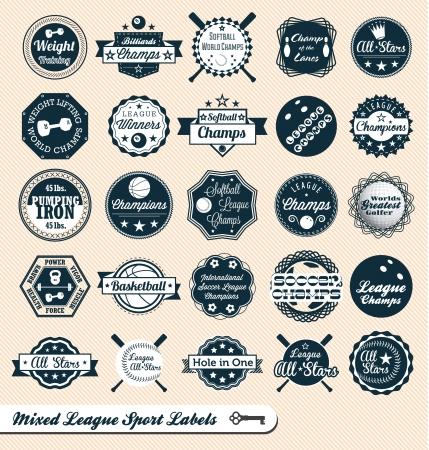 murcielago: Mezcla Etiquetas Liga Deporte e insignias Vectores