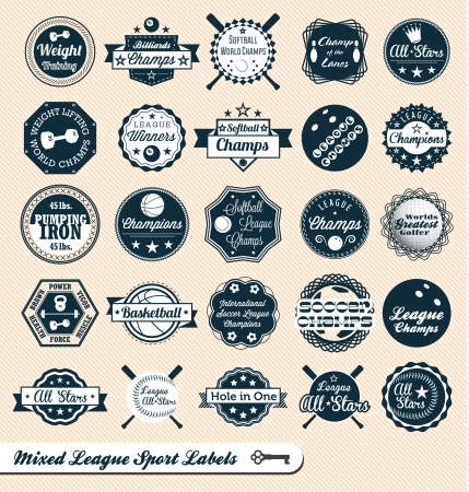 Mixed League Sport Labels and Badges Vector