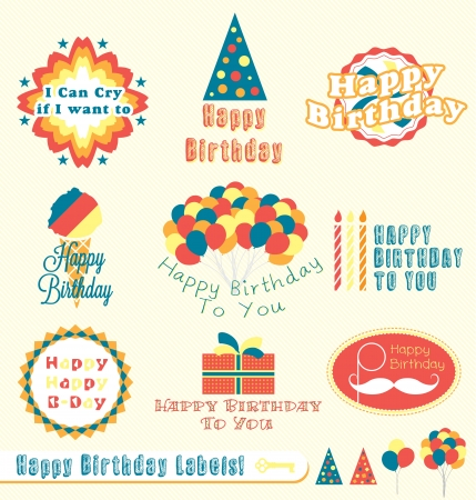 happy birthday party: Etiquetas del feliz cumplea�os Vectores
