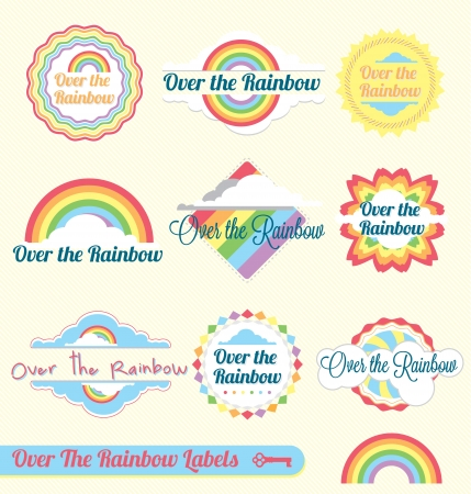 Over the Rainbow Labels and Icons Vector