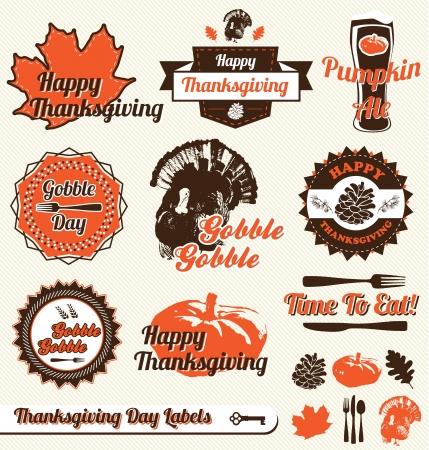 accion de gracias: Vector Set: Etiquetas y etiquetas engomadas del d�a de Thanksgiving