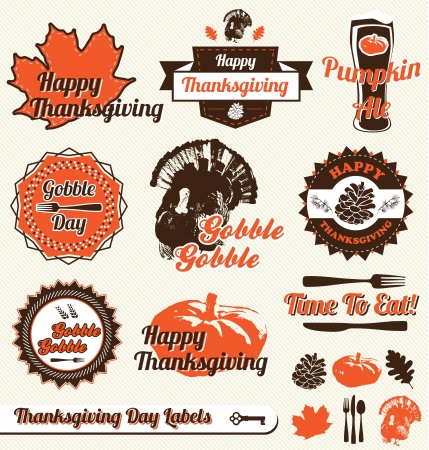 Vector Set: Thanksgiving Day Labels and Stickers Vector