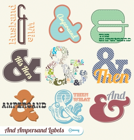Vector Set: Vintage Ampersand Labels and Stickers Stok Fotoğraf - 15549760