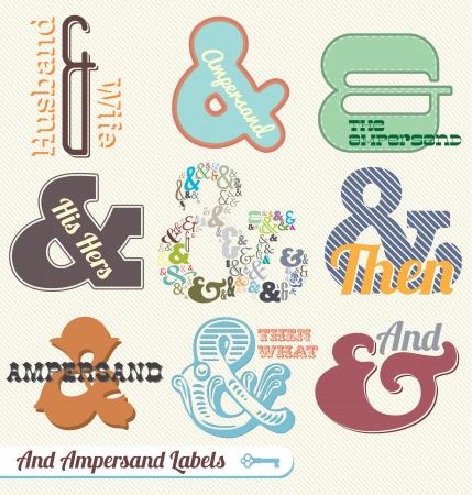 Zestaw Vector: Vintage Labels Ampersand i Naklejki