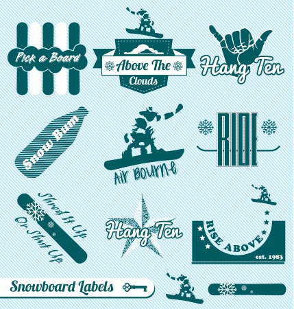 bum: Set: Vintage Snowboarding Labels and Stickers Illustration
