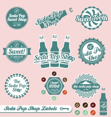 soda bottle: Set: Vintage Soda Pop Shop Labels and Stickers Illustration