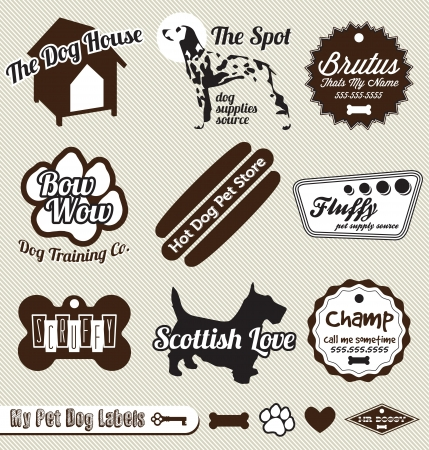 animals and pets: Set: Vintage Doggy and Pet Shop Labels and Stickers