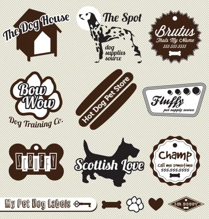 tienda de animales: Set: Vintage Perrito y etiquetas Pet Shop and Stickers