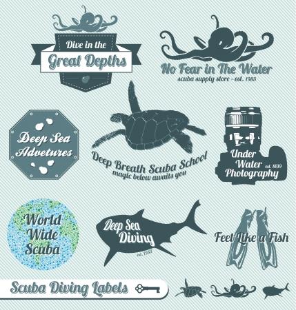 tiburones: Set: Vintage Labels buceo y Pegatinas
