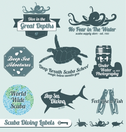diving: Set: Vintage Scuba Diving Labels and Stickers