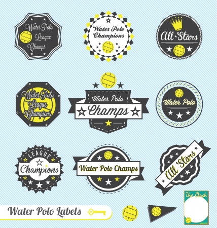 Set: Vintage Water Polo League Labels and Stickers Vector