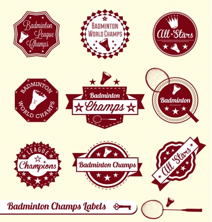 badminton: Set: Vintage Badminton League Labels and Stickers
