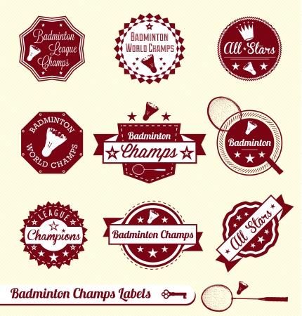 Set: Vintage Badminton League Labels and Stickers