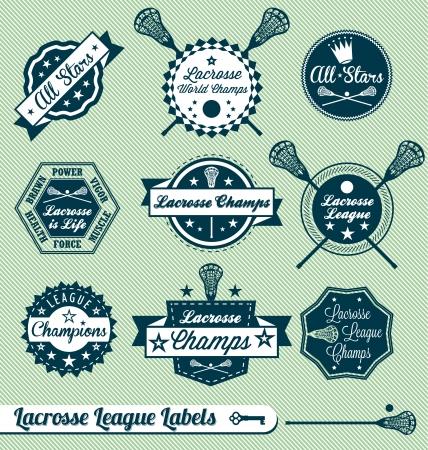 league: Vector Set: Vintage Lacrosse League Labels and Stickers Illustration