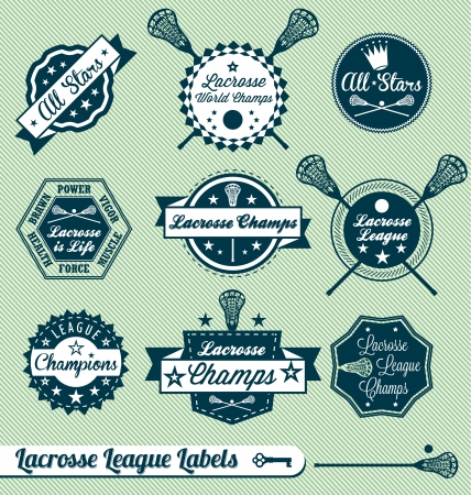 Vector Set: Vintage Lacrosse League Labels and Stickers Illustration