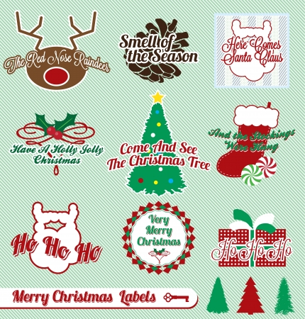 Vector Set: Vintage Merry Christmas Labels and Stickers Vector