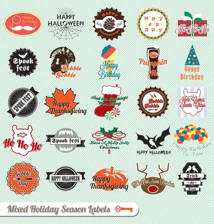 Vintage Mixed Holiday Season Labels and Stickers Çizim