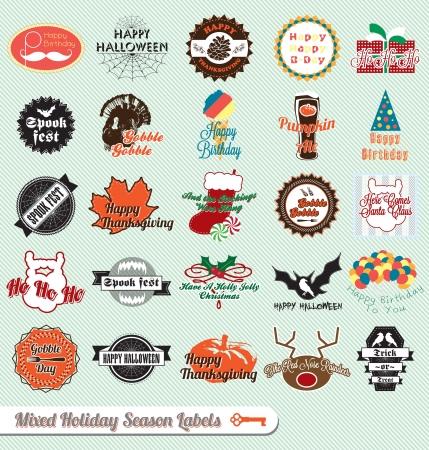 muerdago: Vintage mixtos Etiquetas Temporada de Fiestas y pegatinas Vectores