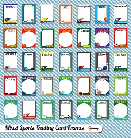 Vintage Mixed Sport Trading Card Bilderrahmen Vektorgrafik