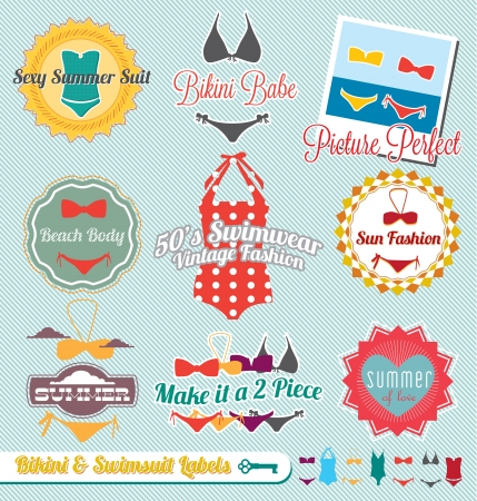 two piece swimsuits: Vector Set: Vintage Bikini and Swimsuit Labels and Stickers
