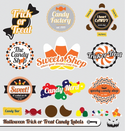 Vector Set: Vintage Halloween Trick or Treat Candy Labels and Stickers Ilustração