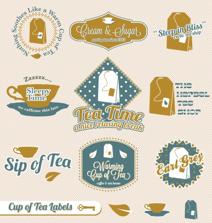 Set: Vintage Labels Tea Time i Naklejki Ilustracja