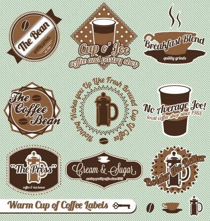 tarde de cafe: Vector Set: Copa Vintage caliente de café etiquetas y pegatinas