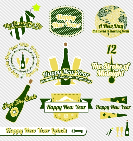 champagne celebration: Set: Vintage Happy New Year Labels and Icons