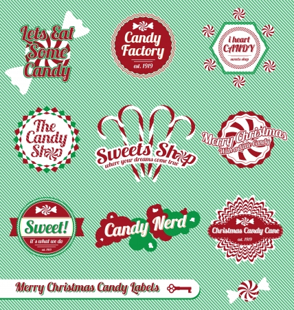 candy cane background:  Set: Vintage Christmas Candy Labels and Icons Illustration