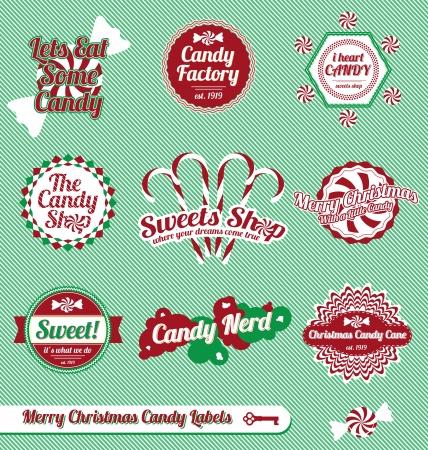 caramelos navidad: Set: Vintage Labels caramelo de la Navidad e Iconos Vectores