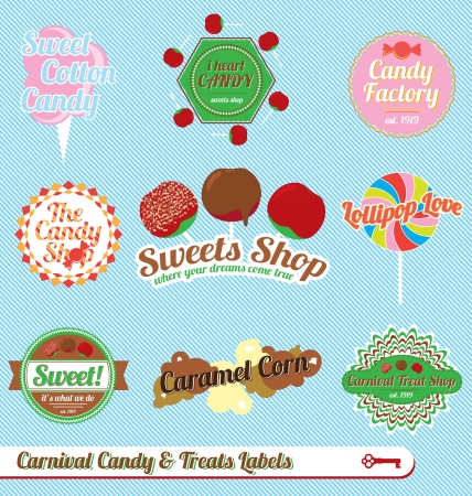 candy apple:  Set: Vintage Carnival Candy Labels and Icons Illustration