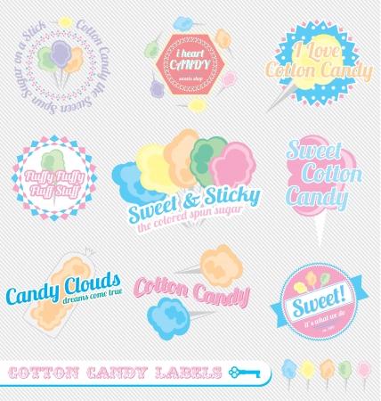 algodon de azucar: Set: vintage Etiquetas del caramelo de algodón e Iconos