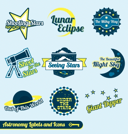 Vector Set: Vintage Astronomy and Stars Labels and Icons Vector
