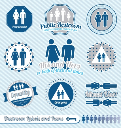 Set: Restroom Bathroom Sign Labels and Icons Vector