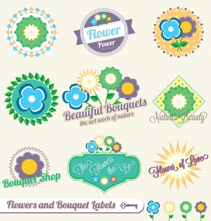Set: Flowers and Bouquet Labels and Icons Stock Illustratie