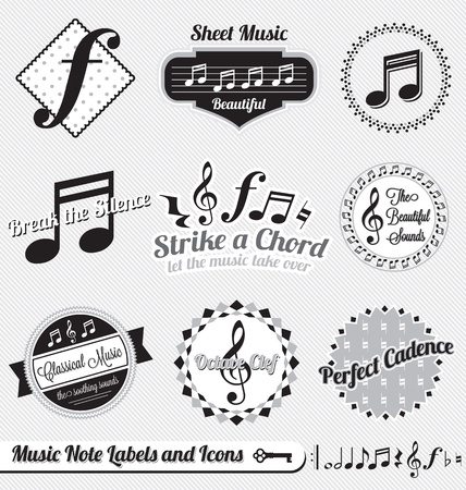 Set: Vintage Music Notes Labels en pictogrammen Stock Illustratie