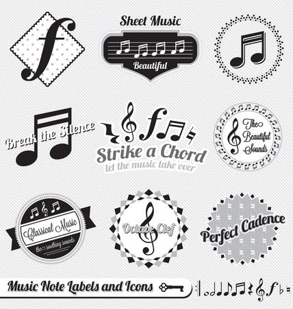 musica clasica: Set: Vintage notas de la m�sica etiquetas y los iconos