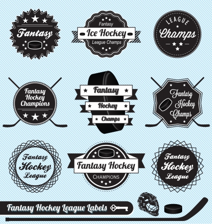 Set: Fantasy Hockey League Champs Labels and Icons Vector