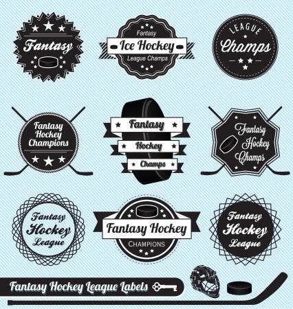 Zestaw: Fantasy Hockey League Champs Etykiety i ikony