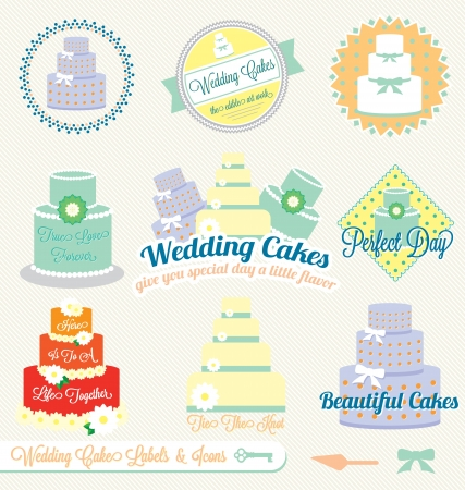 Set: Vintage Wedding Cake Labels and Icons Vector