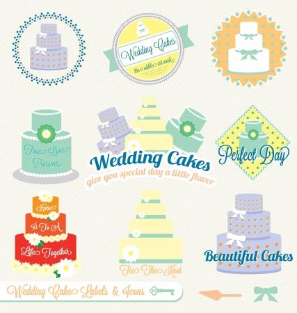 tier: Set: Vintage Wedding Cake Labels and Icons Illustration