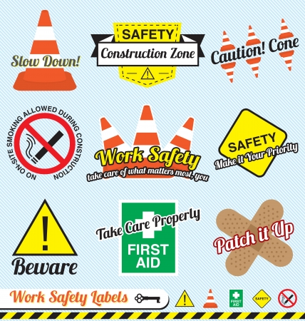hazard: Set: Work Safety and Construction Labels and Icons
